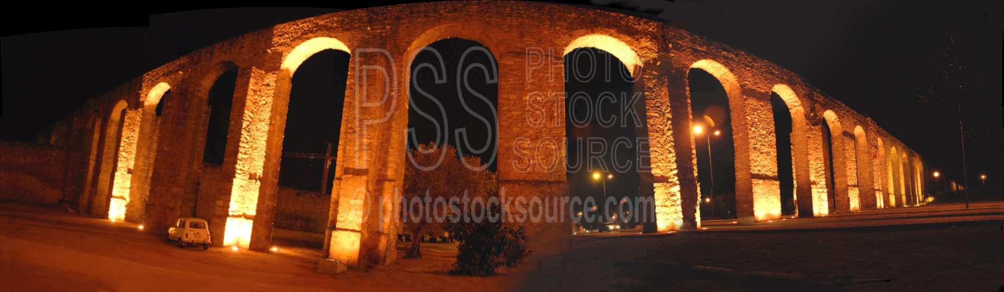 Evora Aqueduct at Night
